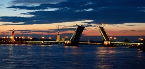 Panorama of the River Neva and the Palace Bridge in St. Petersburg, Russia in a white night